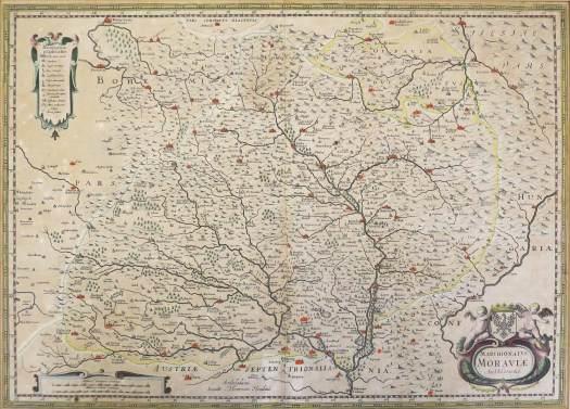 Komenského mapa Moravy, cca 1620 (zdroj: https://www.artkabinet.cz/en/renaissance/map-of-moravia-ca-1630-1.html)