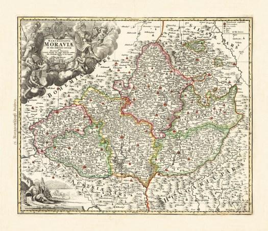 Müllerova mapa Moravy z roku 1716, vydáno 1724 (zdroj: http://veduta-art.cz/shopimg_hd/MM_06_1500.jpg).
