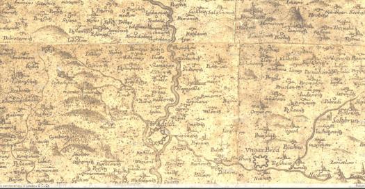 Výřez z Vischerovy mapy Moravy se zaměřením na Napajedelsko (zdroj: https://ags.cuzk.cz/archiv/openmap.html?typ=sbirka1&idrastru=I-1-140).