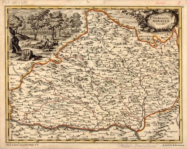 Jedna z variant Komenského mapy Moravy, vydaná ve spolupráci s Ch. Engelbrechtem v roce 1701 (zdroj: http://veduta-art.cz/?part1=mapy-veduty&part2=2-Morava&part3=104-Mapa-Moravy-1701).