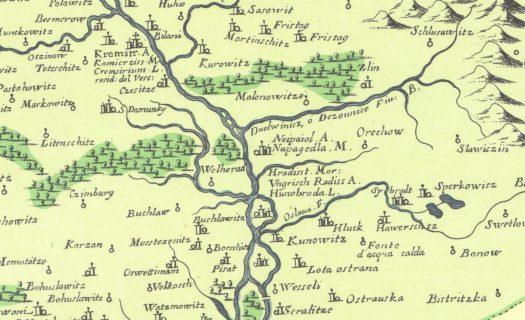 Výřez Coronelliovi mapy Moravy se zaměřením na oblast Napajedelska, rok vydání 1692 (zdroj: https://commons.wikimedia.org/wiki/File:Coronelliova_mapa_Moravy.jpg).