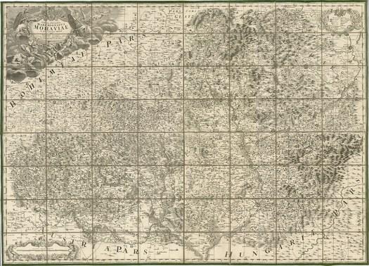 Müllerova mapa Moravy vydaná v roce 1790 (zdroj: https://www.vmo.cz/6.-mullerova-mapa-moravy).