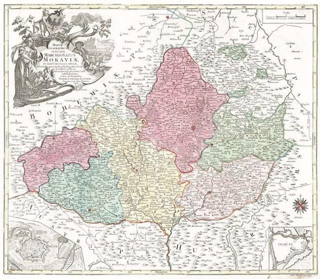 Lotterova mapa Moravy z roku 1758 je dalším derivátem Müllerovy mapy (zdroj: https://www.antikvariatbretschneider.cz/shop/mapy-cechy-morava-a-slezsko/18177-lotter-tc-marchionatus-moraviae-mediryt-1758-.html).