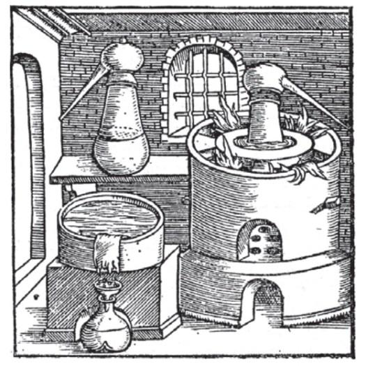Destilační přístroj z roku 1541.