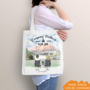 Camping Couple Personalized Tote Bag