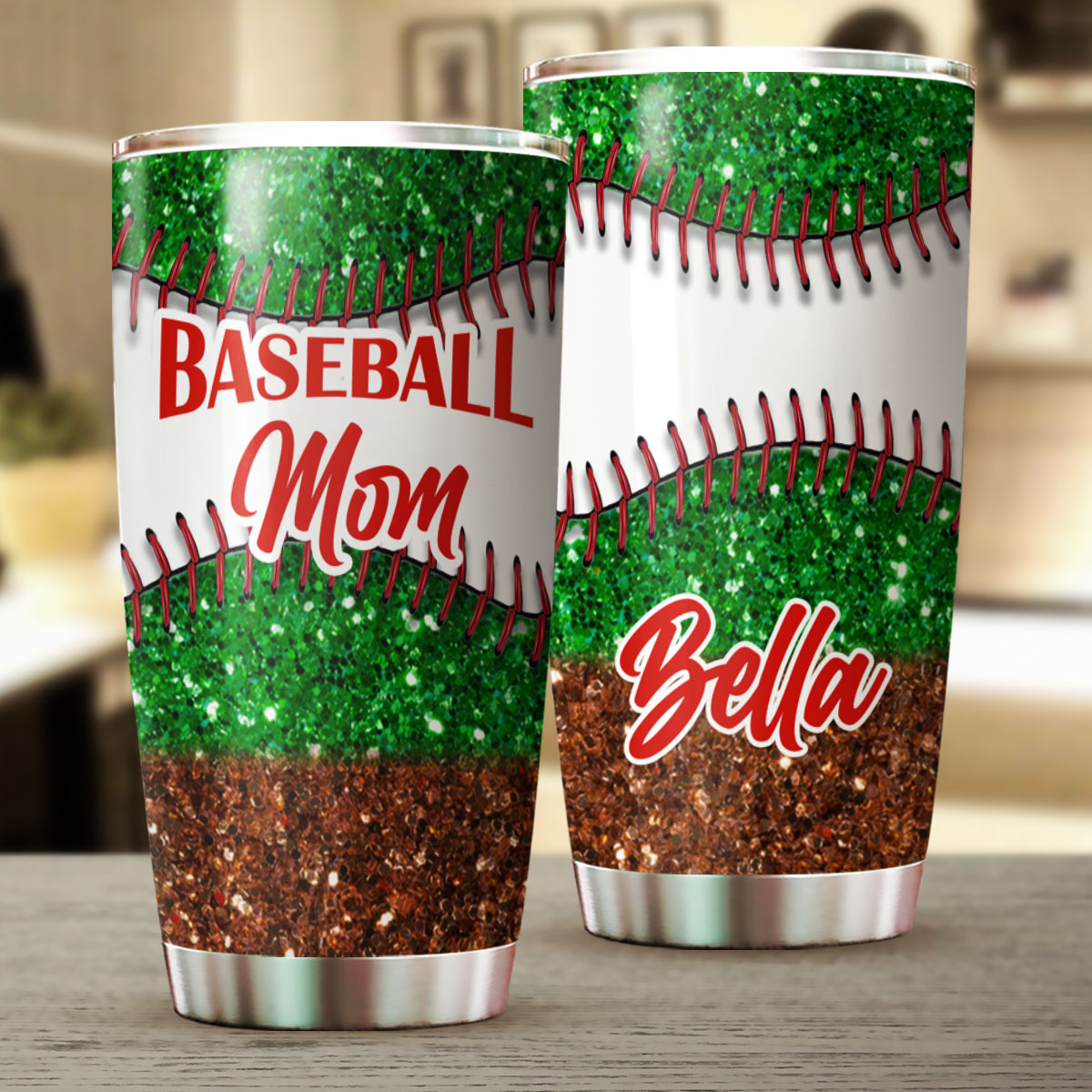 Baseball Mom Sparkly Personalized Stainless Steel Tumbler