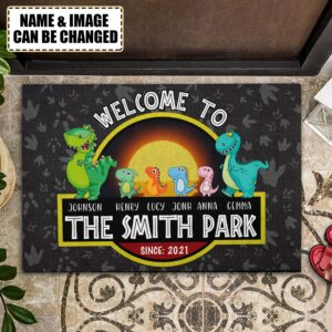 Welcome To Our Park Personalized Rubber Base Doormat