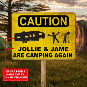 Camping Caution Personalized Cut Metal Sign