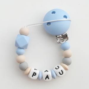 Chupetero silicona personalizado baby blue Mordisquitos