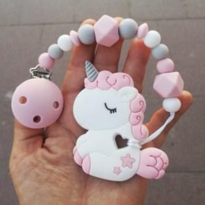 Chupetero y Mordedor Little Unicorn Pink