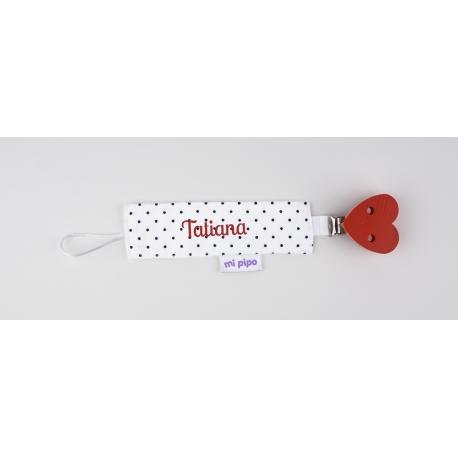 Chupetero tela personalizado bordado con el nombre del bebé