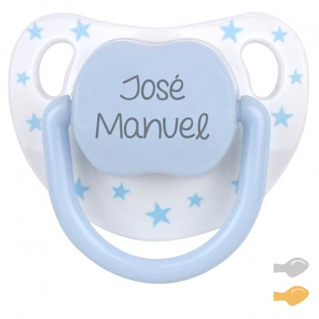 Chupete personalizado baby chic azul blanco mi pipo mordisquitos estrellitas