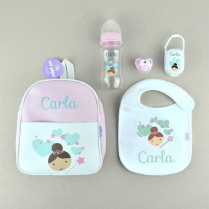 SuperPack colección hada personalizado babero mochila biberon chupete portachupete mi pipo regalo recién nacido bebé mordisquitos mi pipo