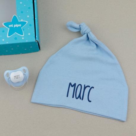 Canastilla duende gorro recién nacido chupete personalizado látex silicona anatómica fisiológica mi pipo mordisquitos regalo bebé