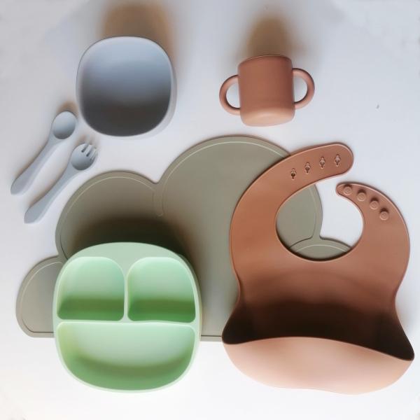 Pack iniciación al blw, vajilla silicona alimentación complementaria bebé mordisquitos