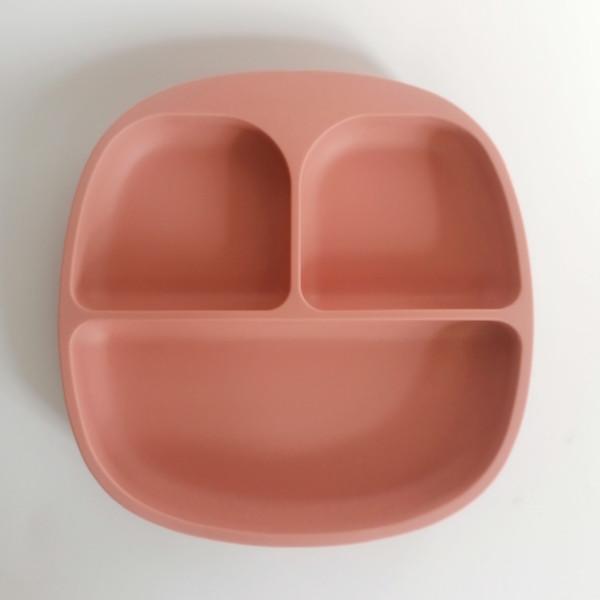Plato de silicona con compartimentos y ventosa para blw alimentación complementaria bebé mordisquitos