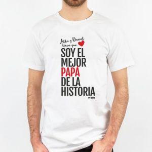 Camiseta regalo original día del padre soy el mejor papá de la historia personalizada