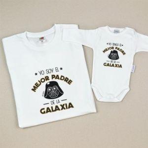Pack camiseta adulto y bebé yo soy el mejor padre de la galaxia dia del padre regalo