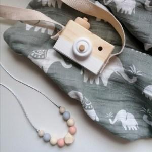 Cámara de fotos juguete madera niños nórdico decoración