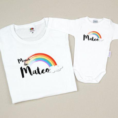 Pack de prendas mamá bebé arcoiris personalizada dia de la madre regalo mama