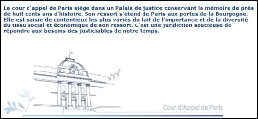 Extrait du site de la Cour d'appel de Paris