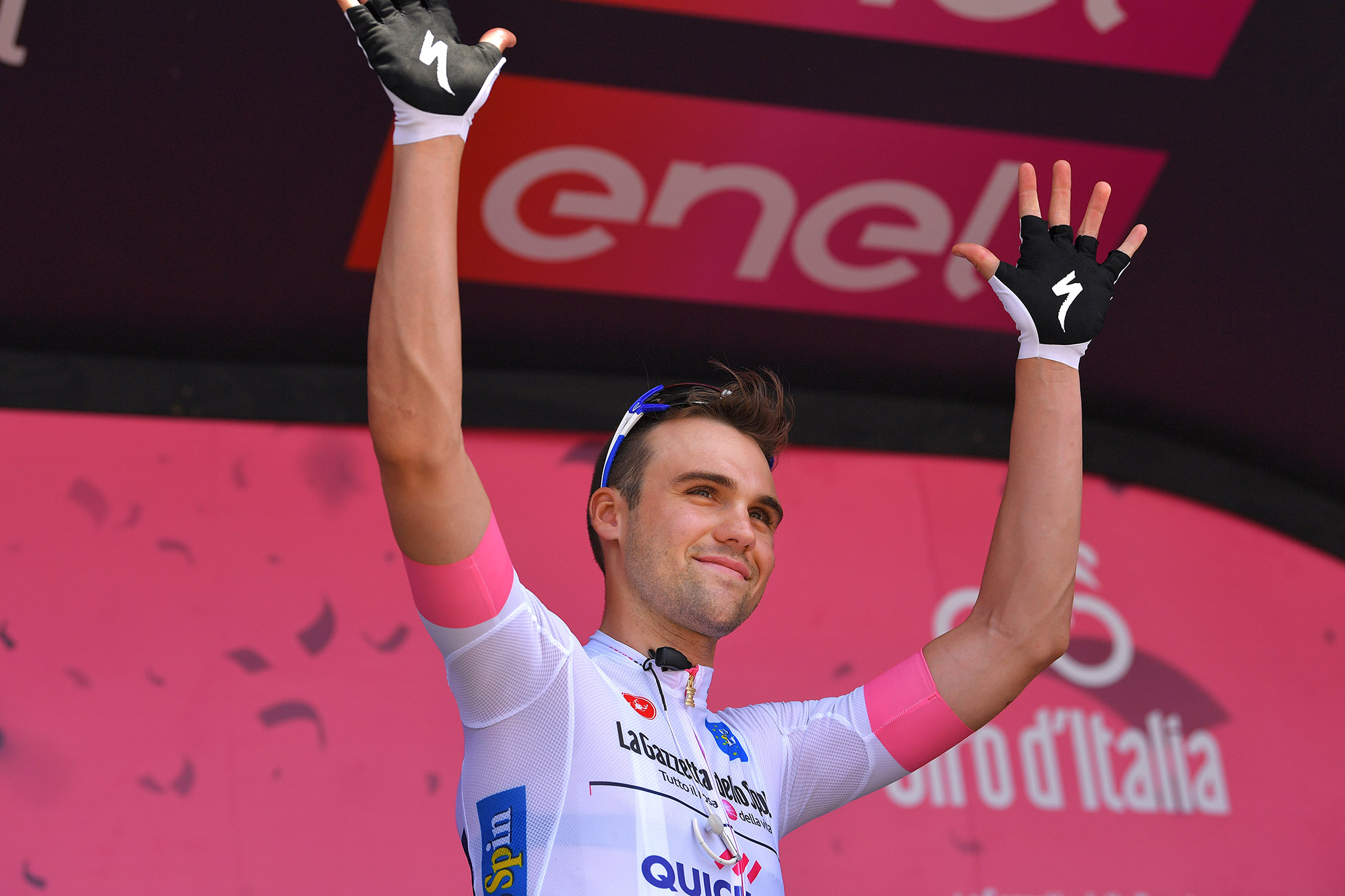 TEL AVIV, ISRAEL - MAY 05: Start / Podium / Maximilian Schachmann of Germany and Team Quick-Step Floors White Best Young Rider Jersey / during the 101th Tour of Italy 2018, Stage 2 a 167km stage from Haifa to Tel Aviv / Giro d'Italia / on May 5, 2018 in Tel Aviv, Israel. (Photo by Tim de Waele/Getty Images)
