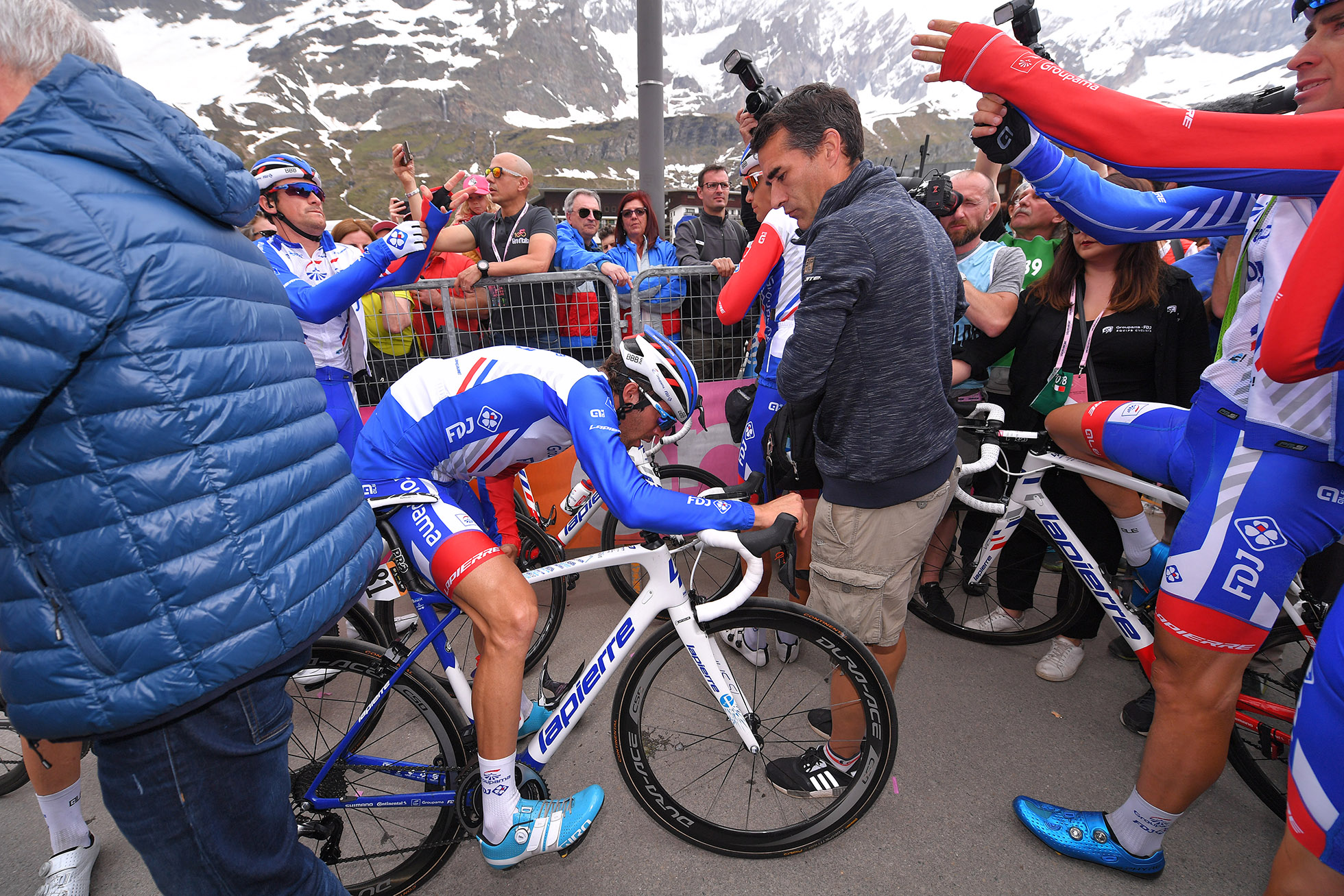 CERVINIA, ITALY - MAY 26: Arrival / Thibaut Pinot of France and Team Groupama-FDJ / Disappointment / during the 101st Tour of Italy 2018, Stage 20 a 214km stage from Susa to Cervinia 2001m / Giro d'Italia / on May 26, 2018 in Cervinia, Italy. (Photo by Tim de Waele/Getty Images)