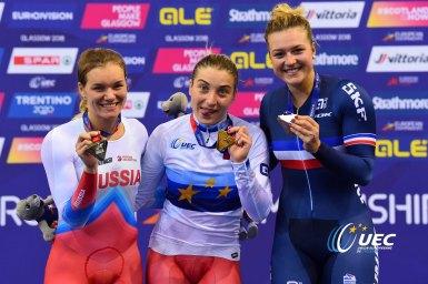 ダリア・シュメレワが今大会2つ目の金・女子スプリント/UECトラックヨーロッパ選手権2018