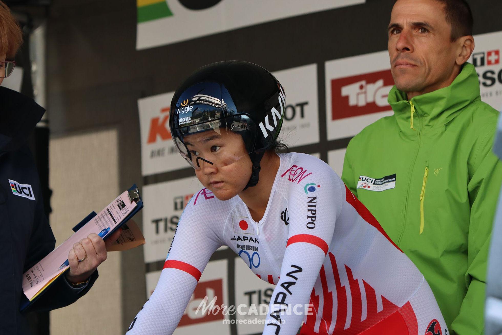 2018ロード世界選手権女子エリート個人TTスタート前の與那嶺恵理