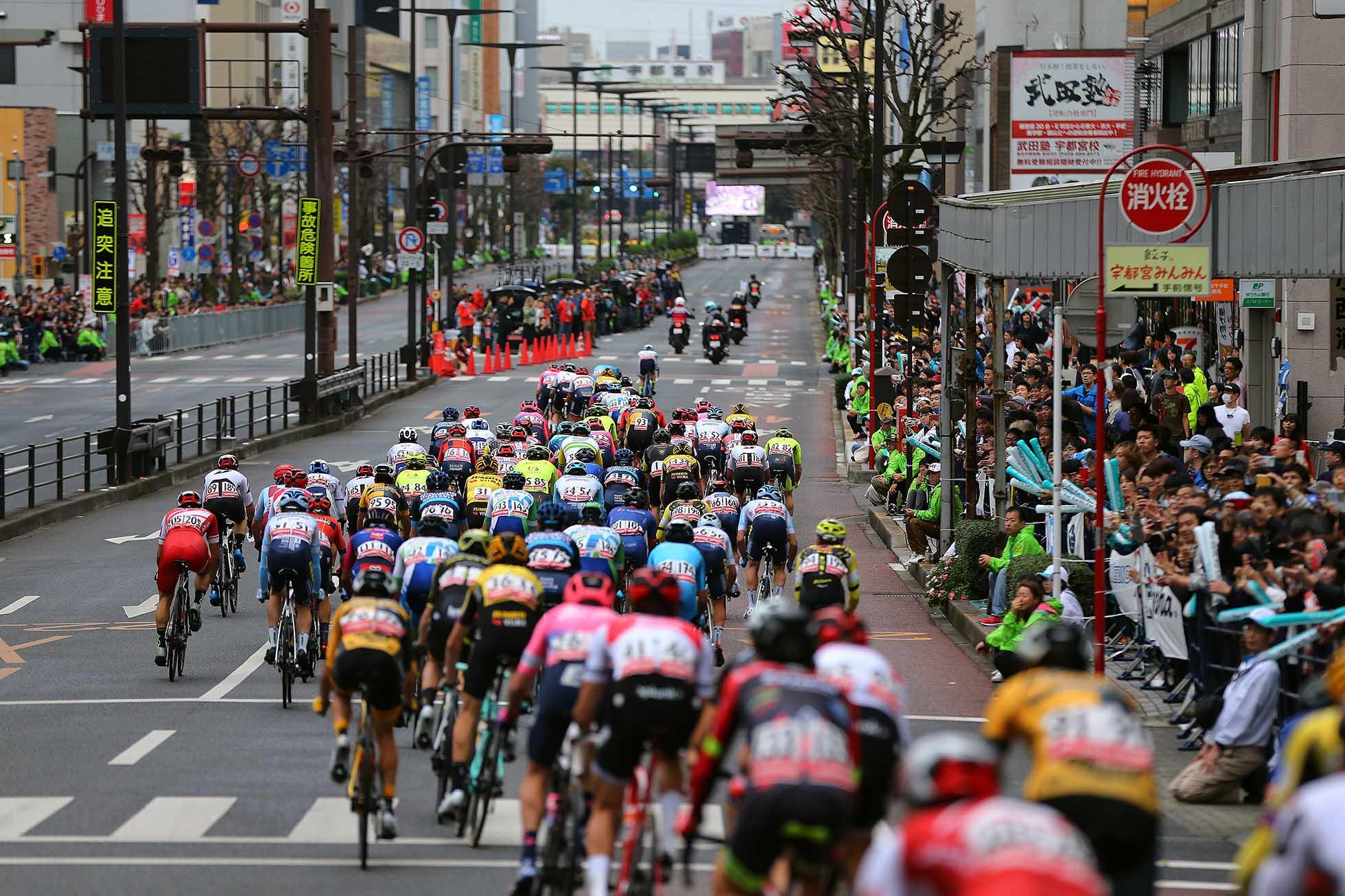 UTSUNOMIYA, JAPAN - OCTOBER 19: Utsunomiya City / Peloton / Fans / Public / Landscape / during the 28th Japan Cup 2019 - Criterium a 38,2km race from Utsunomiya to Utsunomiya / @Japancup_ofc / on October 19, 2019 in Utsunomiya, Japan. (Photo by Kei Tsuji/Getty Images)