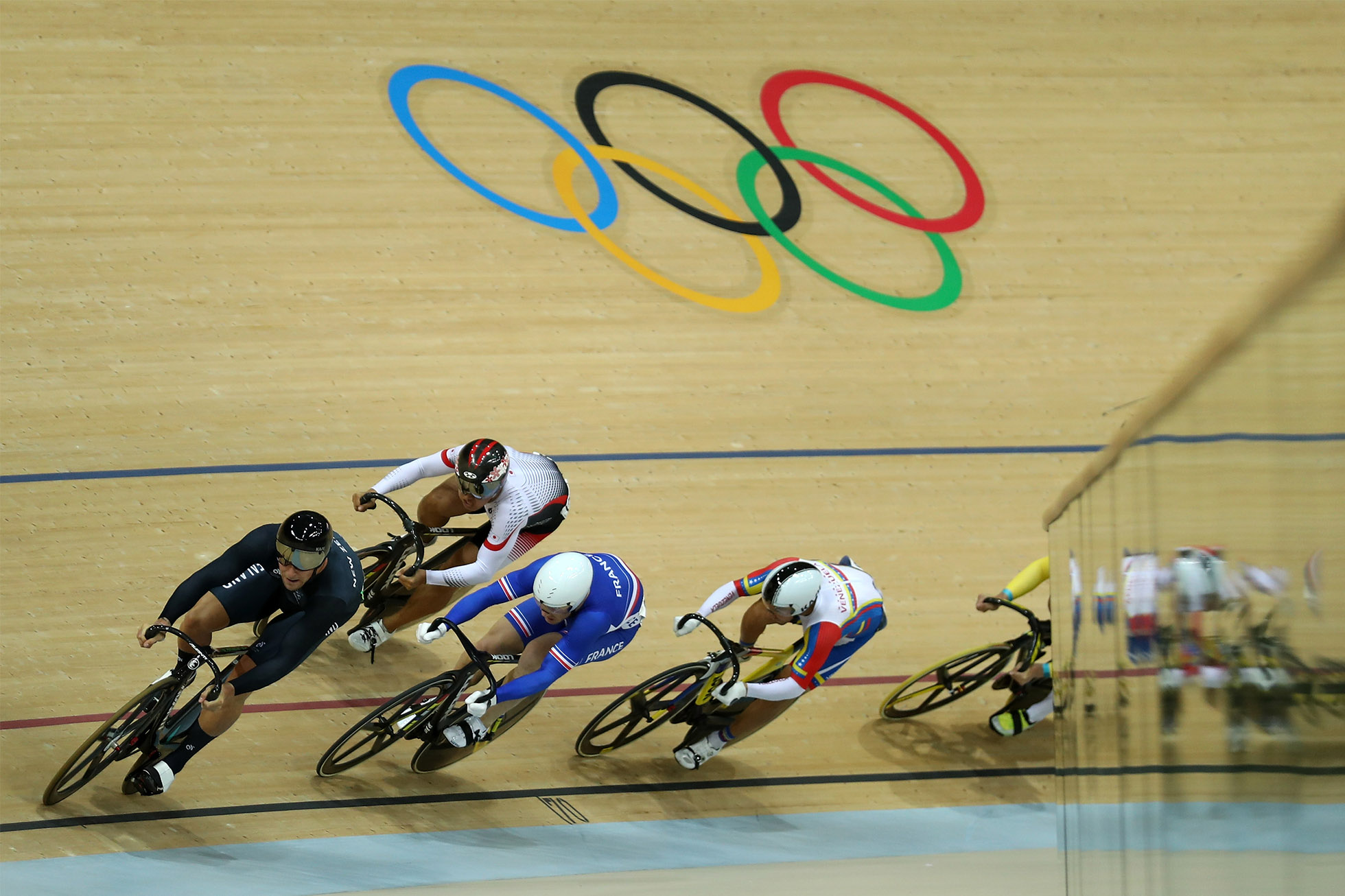RIO DE JANEIRO, BRAZIL - AUGUST 16: Edward Dawkins of New Zealand, Francois Pervis of France, Yuta Wakimoto of Japan, Angel Pulgar of Venezuela and Patrick Constable of Australia compete during the Men's Keirin First Rou nd Repechages - Heat 3 on Day 11 of the Rio 2016 Olympic Games at the Rio Olympic Velodrome on August 16, 2016 in Rio de Janeiro, Brazil. (Photo by Bryn Lennon/Getty Images)