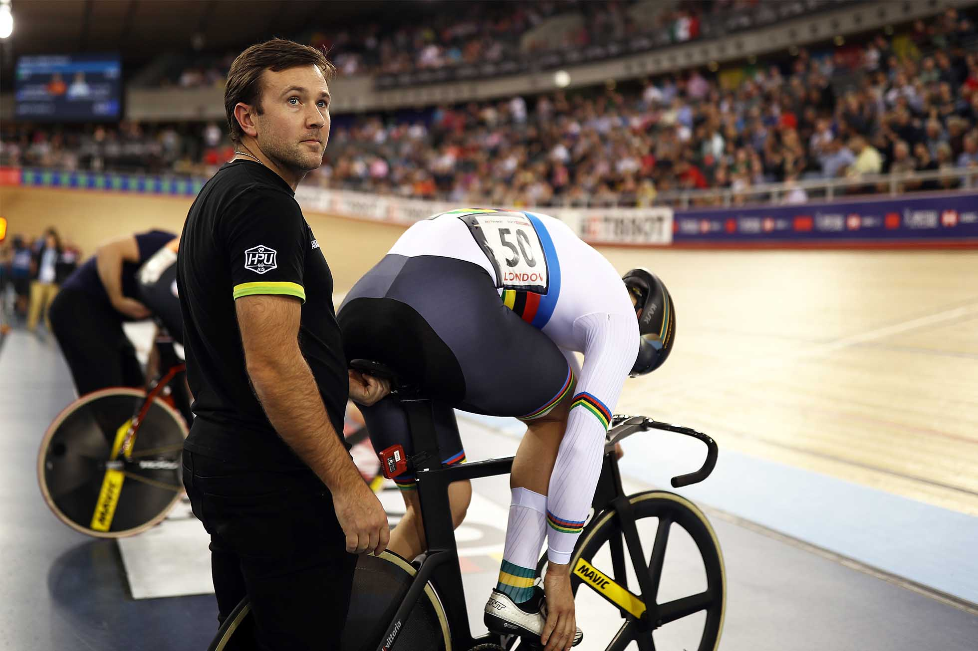 LONDON, ENGLAND - DECEMBER 16: Ross Edgar assists Mathew Glaetzer of Australia during day three of the 2018 TISSOT UCI Track Cycling World Cup at Lee Valley Velopark Velodrome on December 16, 2018 in London, England. (Photo by Bryn Lennon/Getty Images)