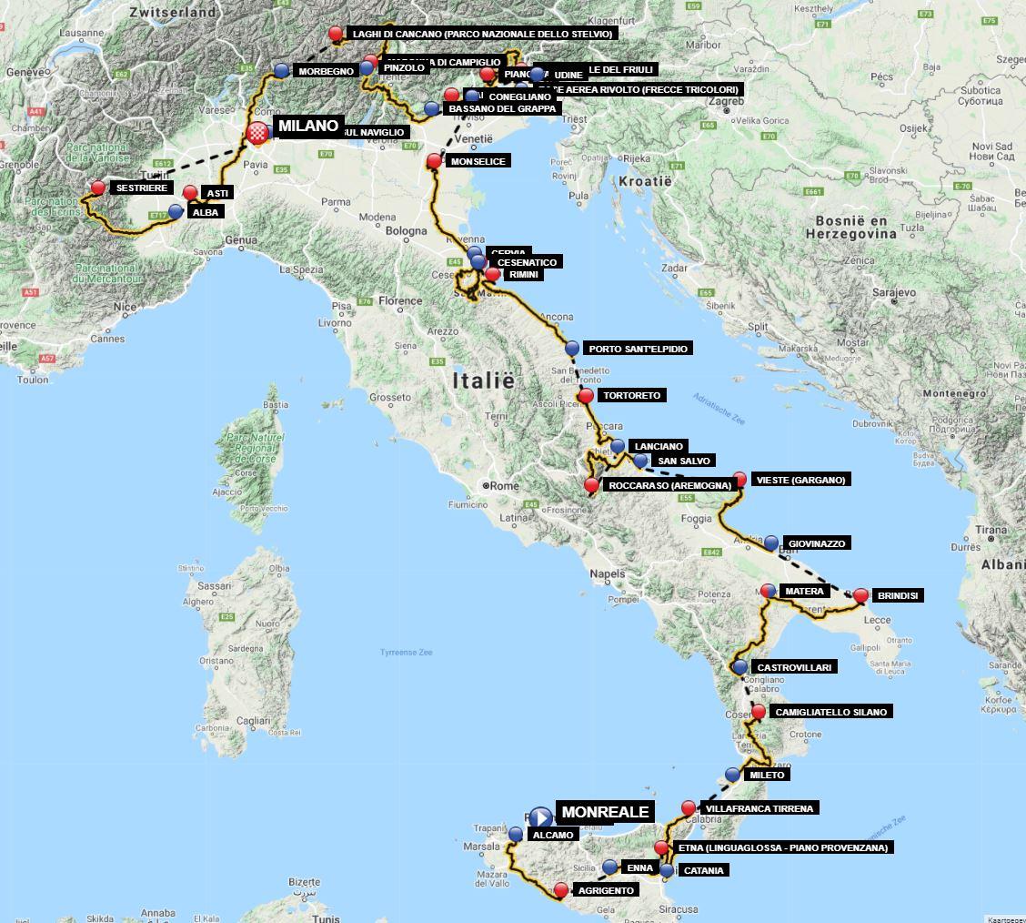 giro d'italia 2020 map