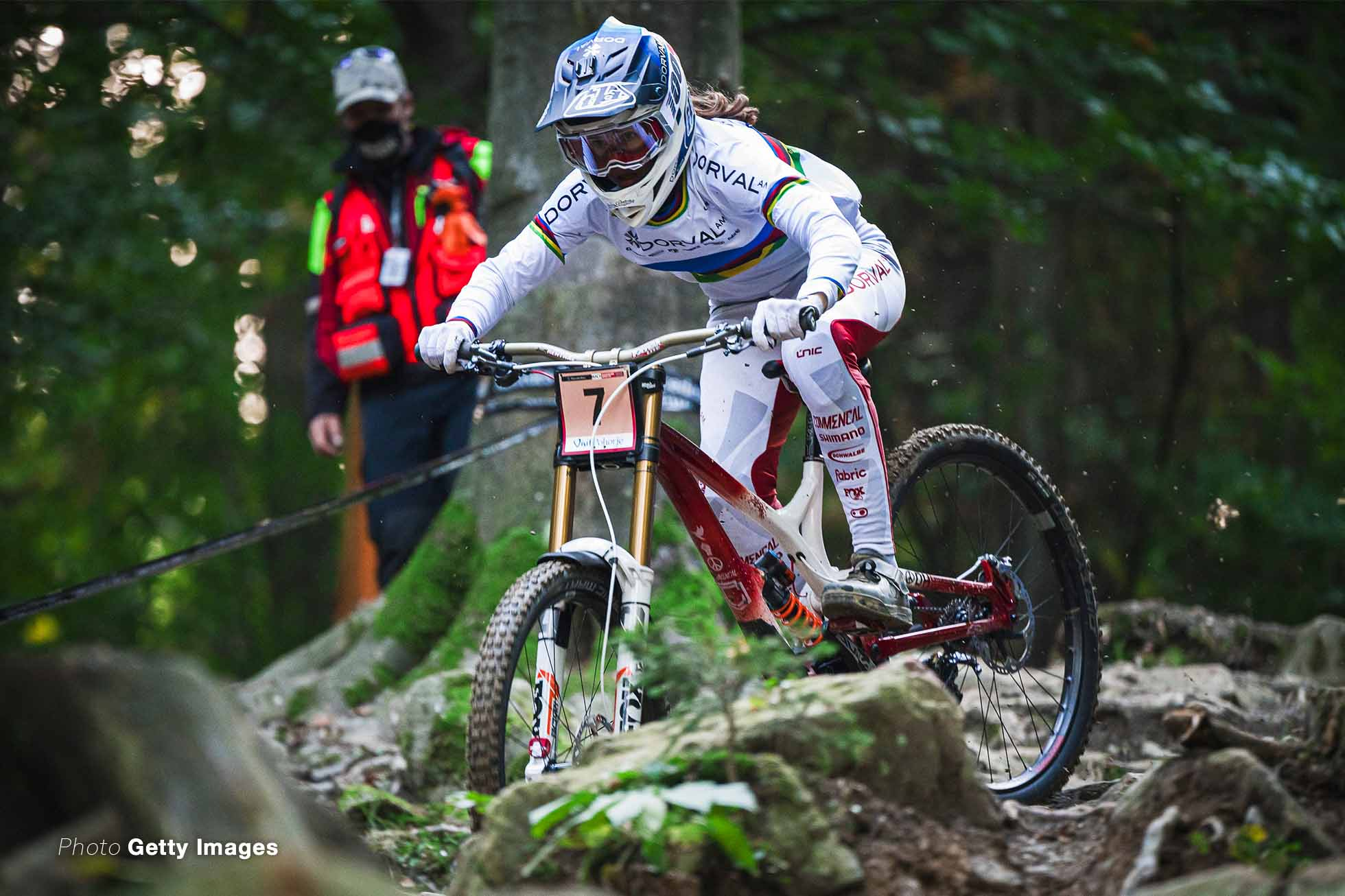 Camille Balanche of Switzerland competes during the UCI BIKE PARK POHORJE, MARIBOR, SLOVENIA - 2020/10/18: Camille Balanche of Switzerland competes during the UCI Mountain Bike Downhill World Cup race at the Bike Park Pohorje. (Photo by Jure Makovec/SOPA Images/LightRocket via Getty Images)