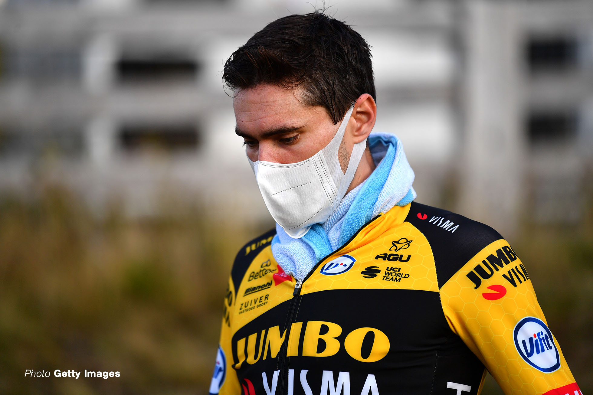 LA PLANCHE, FRANCE - SEPTEMBER 19: Tom Dumoulin of The Netherlands and Team Jumbo - Visma / Mask / 222during the 107th Tour de France 2020, Stage 20 a 36,2km Individual Time Trial stage from Lure to La Planche Des Belles Filles 1035m / ITT / #TDF2020 / @LeTour / on September 19, 2020 in La Planche, France. (Photo by Stuart Franklin/Getty Images,)