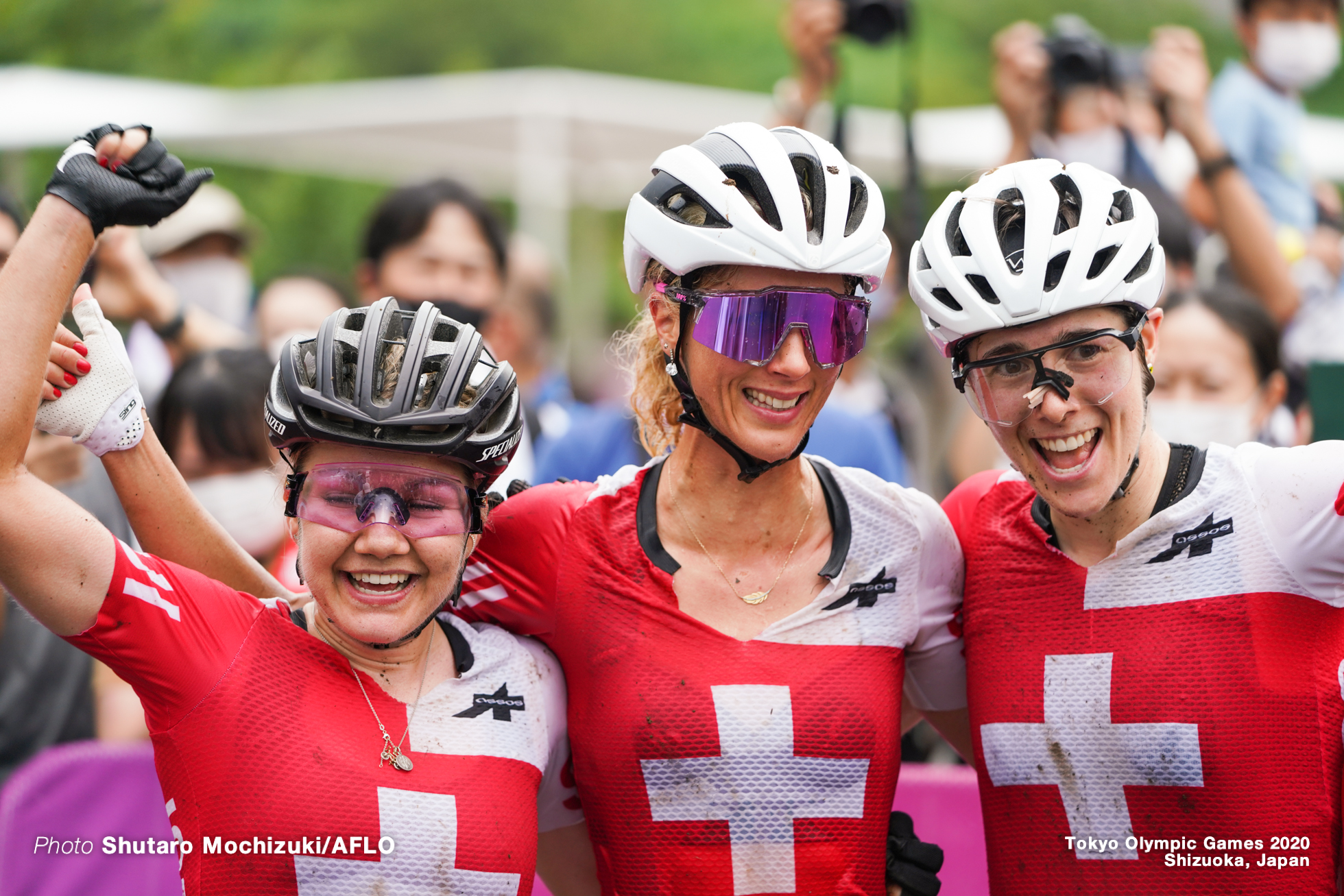 ヨランダ・ネフ Jolanda Neff (SUI), シーナ・フライ Sina Frei (SUI), リンダ・インデルガンド Linda Indergand(SUI) ,JULY 27, 2021 - Cycling : Women's Cross-country during the Tokyo 2020 Olympic Games at the Izu MTB Course in Shizuoka, Japan. (Photo by Shutaro Mochizuki/AFLO)