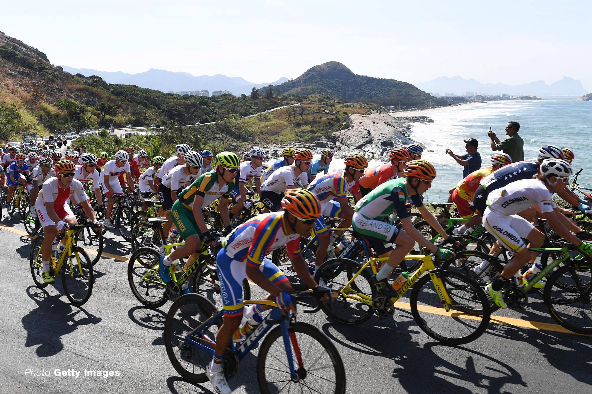 The peloton is on the way in the Men???s Road Race of the Cycling Road event during the Rio 2016 Olympic Games at Fort Copacabana, Rio de Janeiro, Brazil on 06 Aug 2016. Photo: Sebastian Kahnert/dpa | usage worldwide (Photo by Sebastian Kahnert/picture alliance via Getty Images)