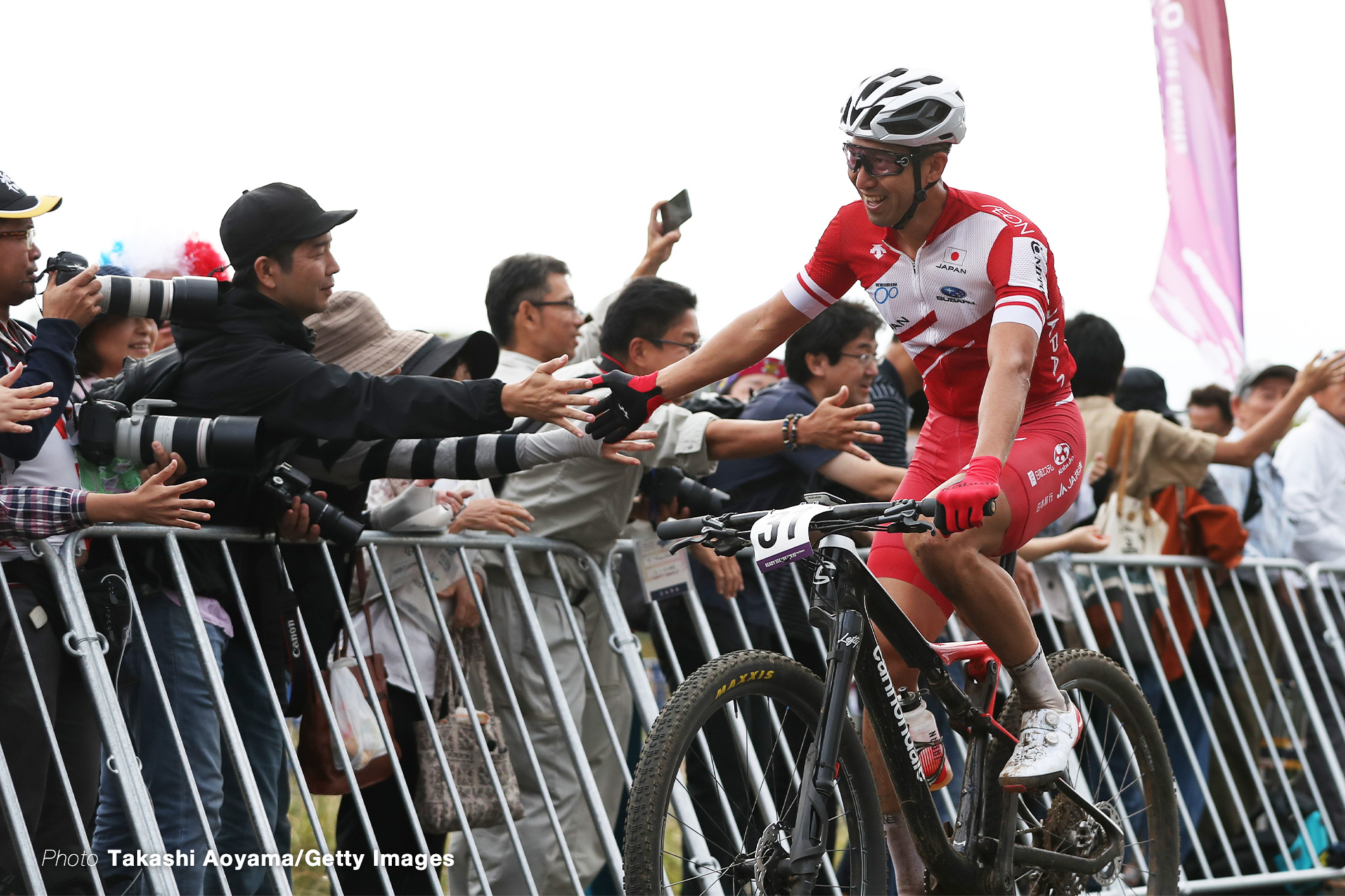 IZU, JAPAN - OCTOBER 06: Kohei Yamamoto of Japan celebrates at the finish during the Cycling - Mountain Bike Tokyo 2020 Test Event on October 06, 2019 in Izu, Shizuoka, Japan. (Photo by Takashi Aoyama/Getty Images)