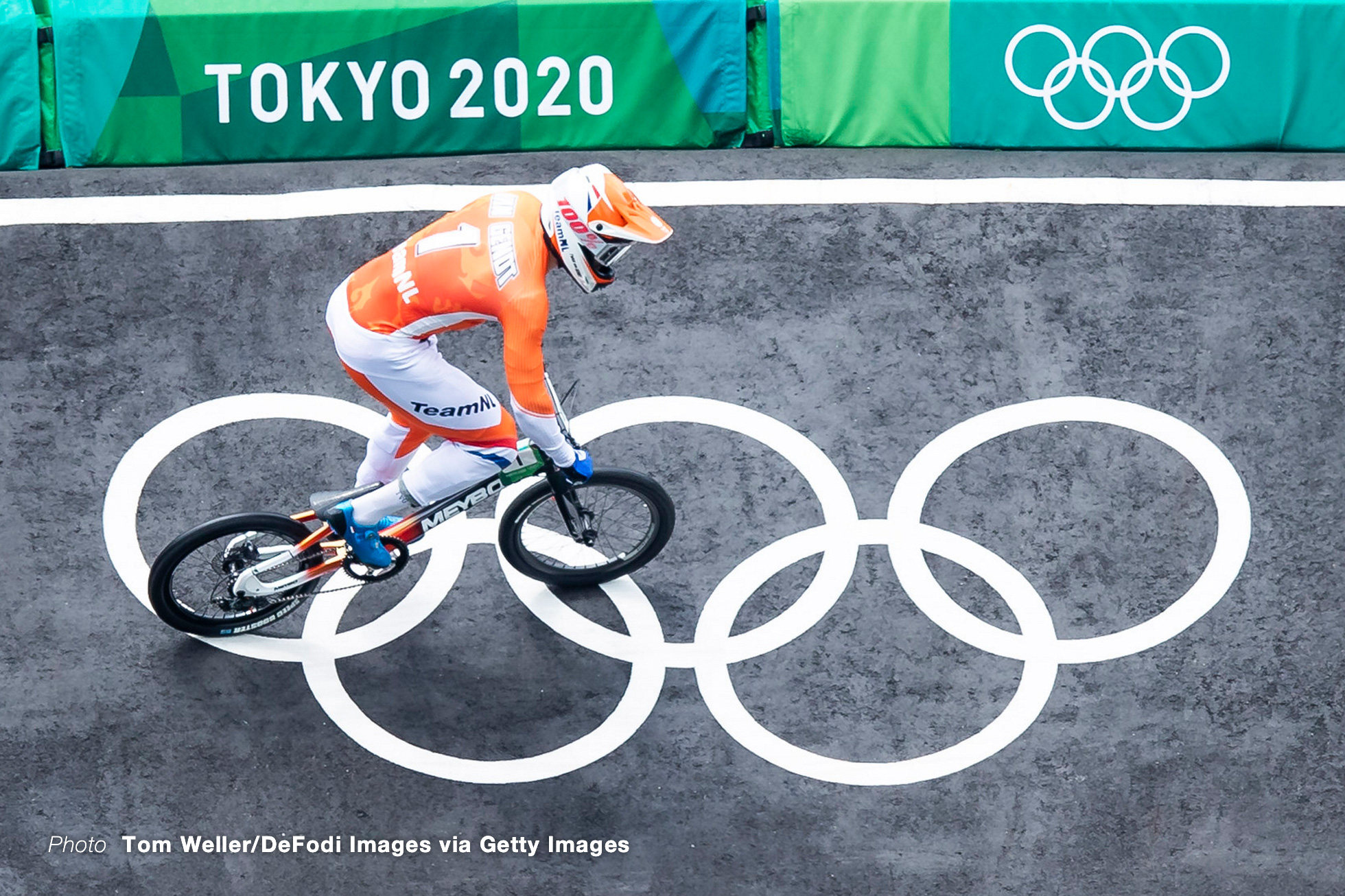 TOKYO, JAPAN - JULY 30: (BILD ZEITUNG OUT) Twan Van Gendt of Netherlands compete during the Men's BMX Racing Run on day seven of the Tokyo 2020 Olympic Games at Ariake Urban Sports Park on July 30, 2021 in Tokyo, Japan. (Photo by Tom Weller/DeFodi Images via Getty Images)