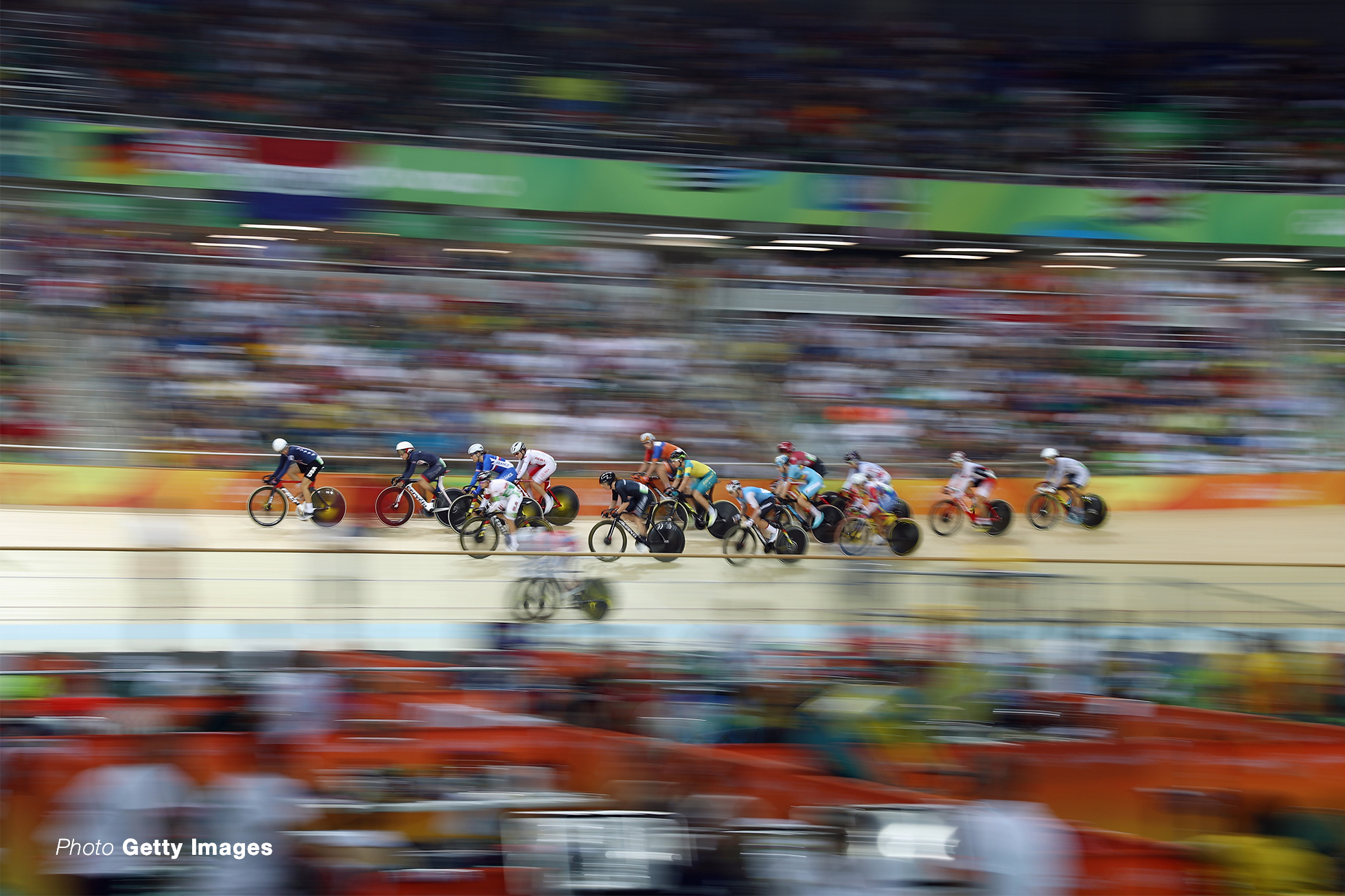 RIO DE JANEIRO, BRAZIL - AUGUST 16: Cyclists compete during the Women's Omnium Points race on Day 11 of the Rio 2016 Olympic Games at the Rio Olympic Velodrome on August 16, 2016 in Rio de Janeiro, Brazil. (Photo by Bryn Lennon/Getty Images)