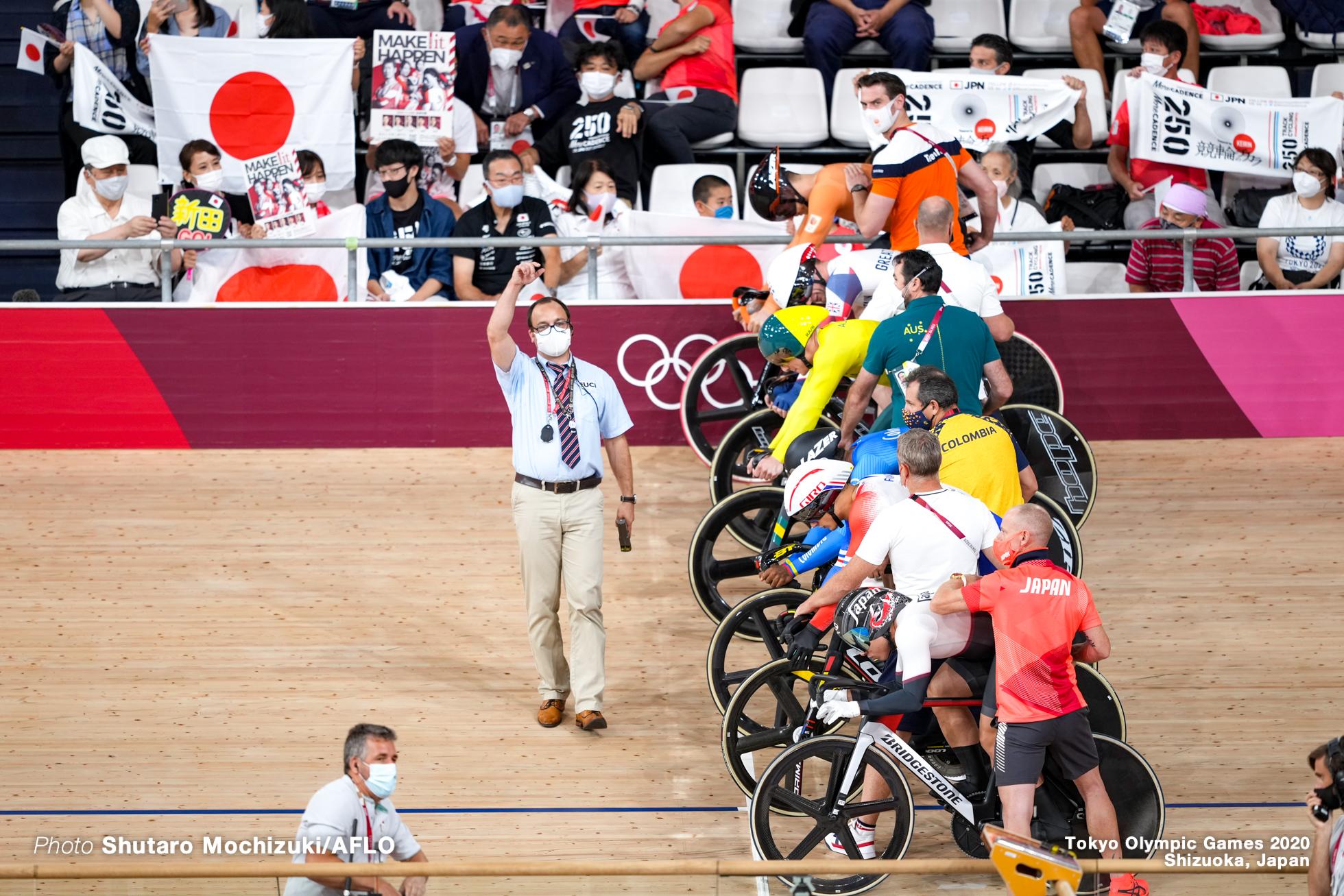 マシュー・リチャードソン Matthew Richardson (AUS), ケビン・キンテロ Kevin Santiago Quintero Chavarro (COL), ライアン・エラル Rayan Helal (FRA), ジェイソン・ケニー Jason Kenny (GBR), 新田祐大 Yudai Nitta (JPN), ハリー・ラブレイセン Harrie Lavreysen (NED), Men's Keirin Quarter-Final AUGUST 8, 2021 - Cycling : during the Tokyo 2020 Olympic Games at the Izu Velodrome in Shizuoka, Japan. (Photo by Shutaro Mochizuki/AFLO)