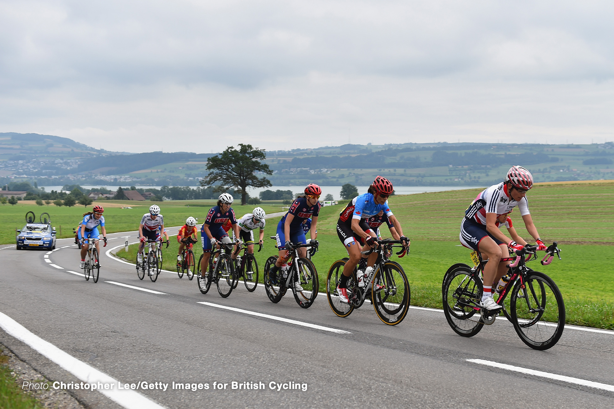 LUCERNE, SWITZERLAND - AUGUST 01: Dame Sarah Storey of Great Britain leads the pack before she breaks away to win the WC5 Road Race during the Road Race on Day 4 of the UCI Para-Cycling Road World Championship on August 1, 2015 in Lucerne, Switzerland. (Photo by Christopher Lee/Getty Images for British Cycling)