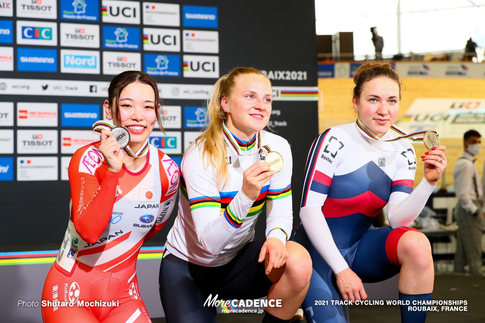 Women's Keirin Podium / 2021 Track Cycling World Championships, Roubaix, FRIEDRICH Lea Sophie(GER)リー ソフィー・フリードリッヒ,SATO Mina(JPN)佐藤水菜, TYSHCHENKO Yana(RCF)ヤナ・ティシュチェンコ