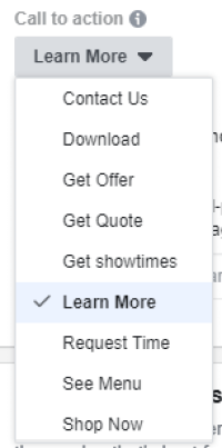 Ads Manager Call To Action (CTA) Buttons