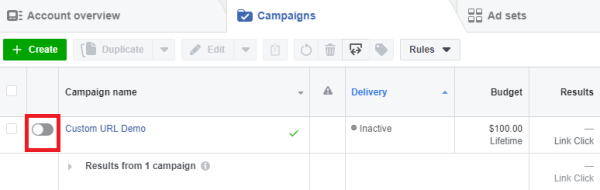 Set Campaign to Inactive in Ads manager