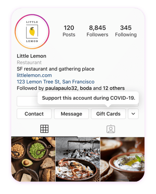 Instagram GiftCard Button on Profile