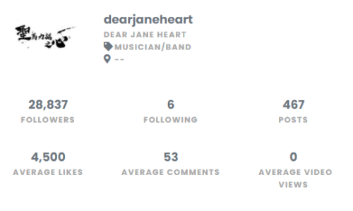 Dear Jane IG Account Stat 01