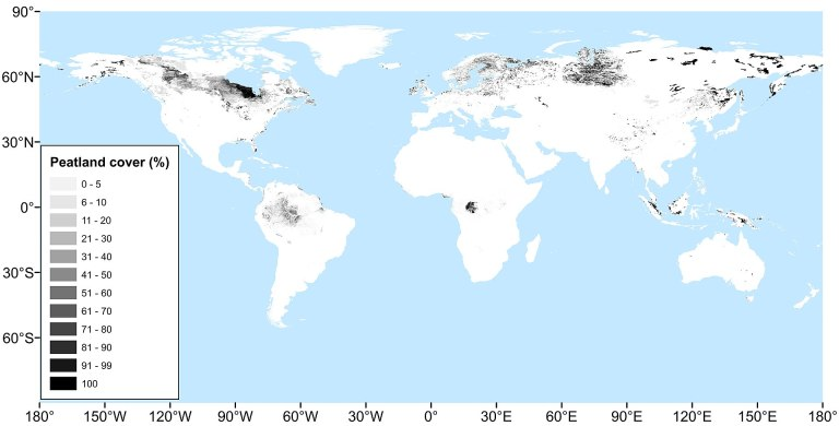 Peatland cover all around the world