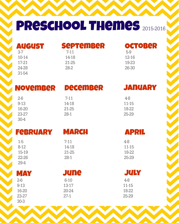 Preschool Themes Planning Sheet