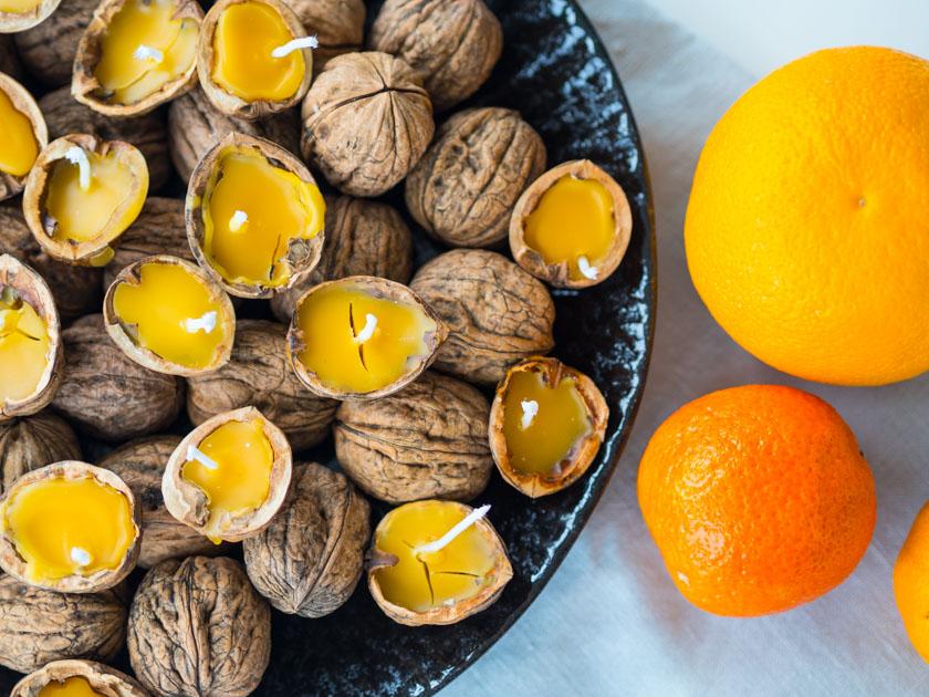 DIY Walnuss Kerzen aus Bienenwachs Kerzen fertig mit Orangendeko